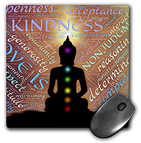 3dRose Mouse Pad Modern Buddha Symbol with Text Design - 8 by 8-Inches (mp_240203_1)