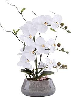 LIVILAN Large Artificial Flower Arrangement Lifelike Silk Orchid Artificial Flower with Decorative Ceramic Grey Vase Vivid Potted Orchid Plant White
