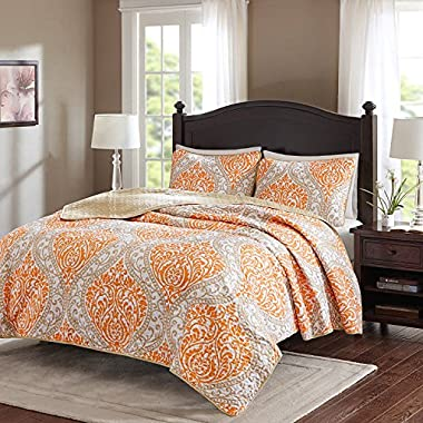 Comfort Spaces Coco Mini Quilt Set - 3 Piece – Orange and Taupe– Printed Damask Pattern –Full/Queen size, includes 1 Quilt, 2 Shams