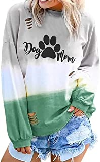 NANTE Top Loose Women`s Blouse Dog Paw Print Gradient Color T Shirts Hollow Out Long Sleeve Shirt Womens Tops Costume Clothes