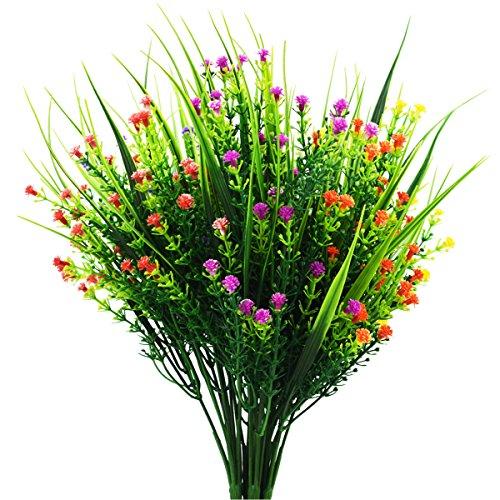 5 Stück Künstliche Outdoor Pflanzen - Fake Kunststoff grün Sträuchern Weizen Gras Sträucher Blumen für Innen Außen Home Haus Garten Büro Hochzeit Party Decor