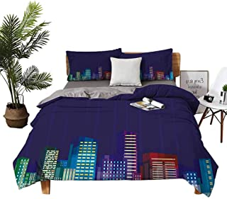 4pcs Bedding Set Sheets Hotel Bed Sheets Queen Set Cartoon Print of City Scenery Landscape of Apartments and Buildings Art...