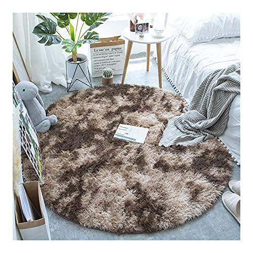 SFQRYP Tapetes de tapetes redondos fofos para sala de estar casa decoração quarto quarto de criança piso tapete decoração salão mais espesso pilha tapete (Color : Dark brown, Size : 200X200cm)