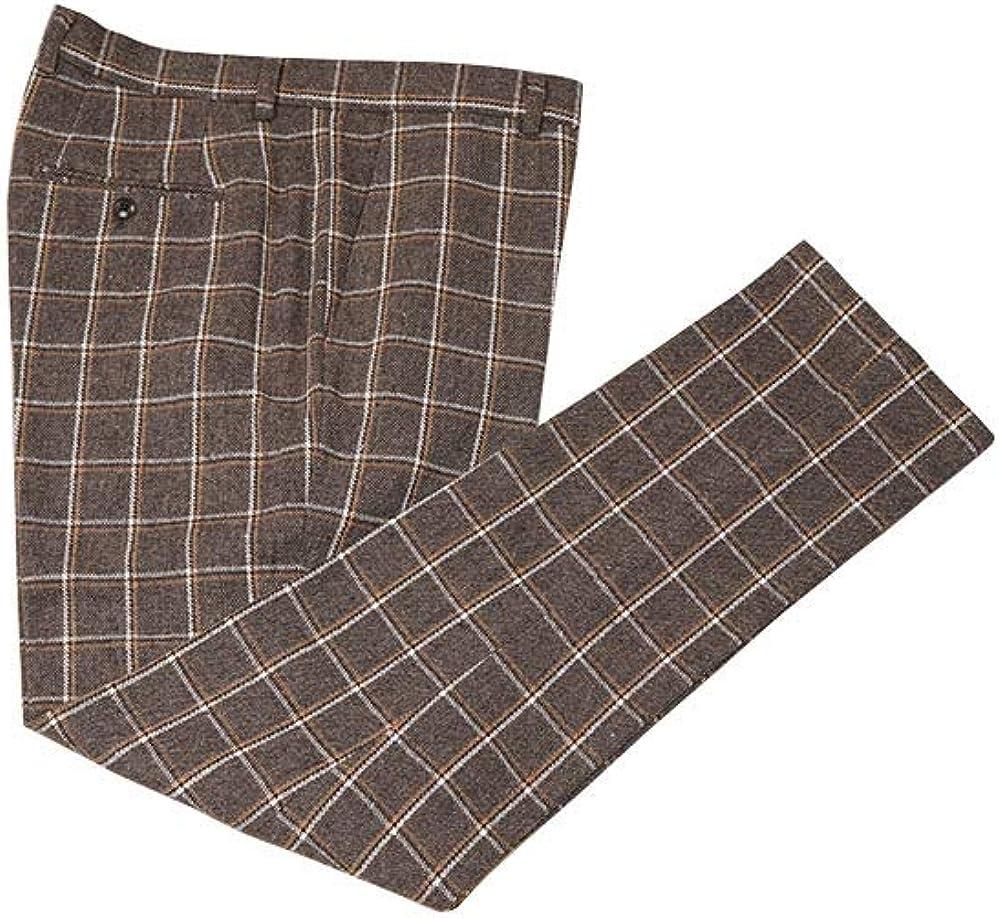 Classic Mens 3 Pieces Brown Plaid Wool Tweed Herringbone Best Men's Formal Slim Fit Suit Office Blazer Jacket Vest Pant