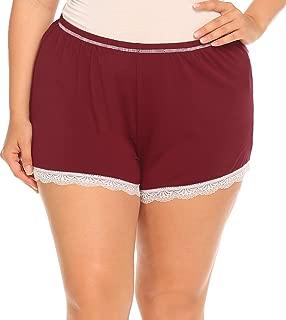 IN'VOLAND Women's Plus Size Lace Trim Pajama Bottoms Elastic Waist Sleep Shorts Jersey Sleepwear Pants XL-5XL