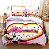 XZHYMJ Mickey Down Duvet Cover Set Minnie Bedding Set Disney Duvet Cover Children Room Decorations for Girls 3-Piece Microfiber Set 02_King 220X240CM