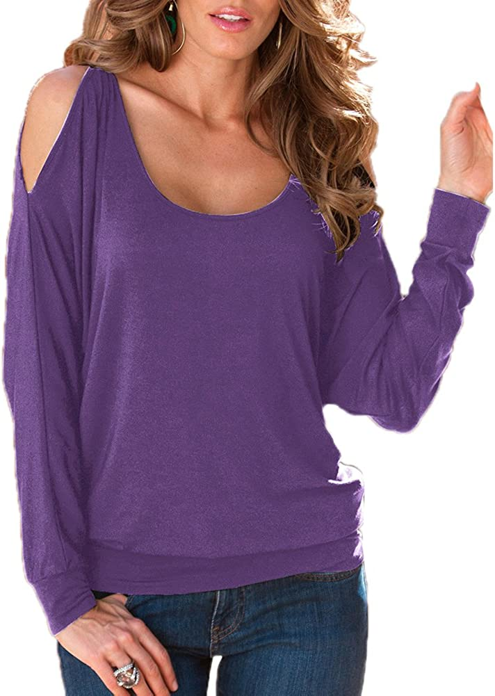 Zugoulook Womens Casual Off Shoulder Long-Sleeve Bottoming T Shirt Blouse Tops