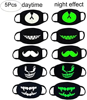 MZYARD Cool Luminous Face Mouth Mask Black for Rave and Club 5 Pack