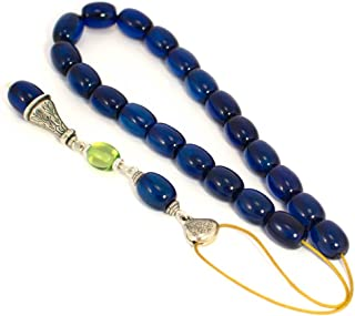 Blue Amber Gemstones Handmade Worry Beads (Komboloi), 925 Sterling Silver Parts, Length 36cm (14