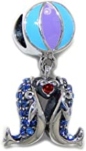 ICYROSE Solid 925 Sterling Silver Dangling Blue CZ Whale w/Beach Ball Charm Bead for European Snake Chain Bracelets