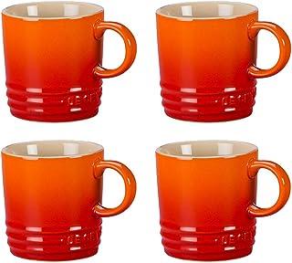 Le Creuset Flame Stoneware 3.5 Ounce Petite Espresso Mug, Set of 4