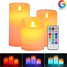 Flameless LED Candles, ALED LIGHT Pack of 3 Warm White plus Multicolored Real Wax Electric Candles with Remote Control and...