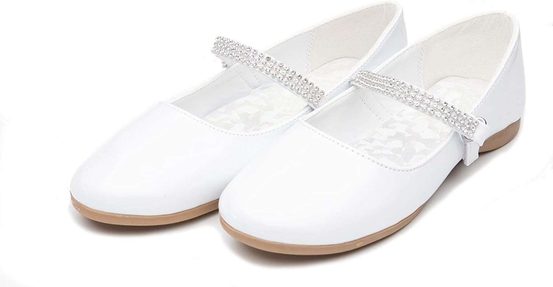 EIGHT EIGHTEEN Cute Mary Jane Slip-On Party Dress Strap Ballerina Flat for Kids