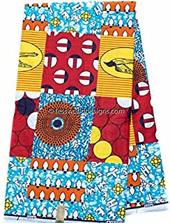 Tess World Designs Faux Patchwork African Fabric 6 Yards African Fabric Ankara Fabric | Hollandais African Wax Print Cotton Print WP1011 (Red, Blue, and Yellow)