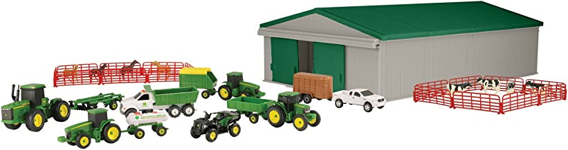TOMY John Deere Die-Cast Farm Toy 70-Piece Value Playset with Machine Shed, Tractors, Trucks, Implements, and Farm Animals
