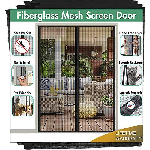 Magnetic Screen Door for French Door (72'W80'L) IKSTAR Sliding Screen Door with Full Frame Magic Tape Instant Double Mesh for Front Door Bug Out Kids/Pets Walk Through Fit Door Up to 70'x79' Max