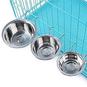 yosoo Crochet en acier inoxydable sur la Gamelle Bol pour chien Pet Cage Lapin Cage à oiseaux d'eau nourriture pour chien chat bol tasse tasse avec Pince Support