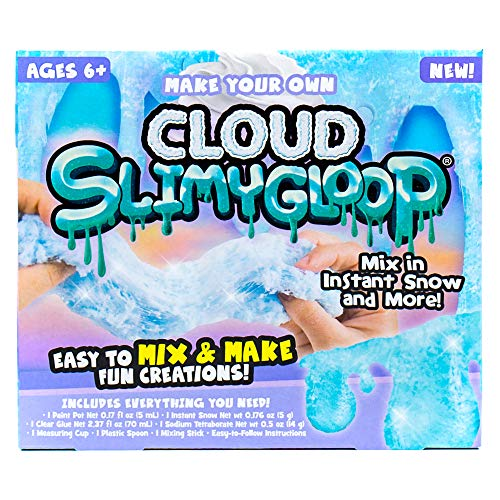 SLIMYGLOOP Make Your Own Fluffy Cloud DIY Slime Kit by Horizon Group USA, Mix & Create Super Stretchy, Fluffy, Gooey, Putty Cloud Slime – Instant Snow Included, Blue, Multi, One Size