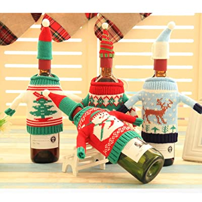 4 Sets Christmas Wine Bottle Cover Knit Sweater...