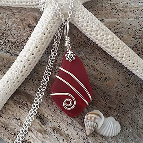 Handmade in Hawaii, wire wrapped Ruby red sea glass necklace,'January Birthstone', (Hawaii Gift Wrapped, Customizable Gift Message)