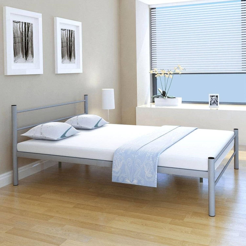 Festnight Doppelbett Metallbett Gstebett Bett aus Metall ohne Matratze 140x200 cm Grau