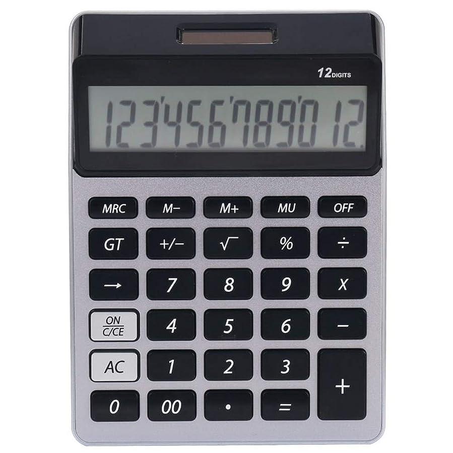 投資する専制測定電卓 12桁の大型ディスプレイ、ソーラーバッテリーLCDディスプレイオフィス電卓-ランダムカラーを備えた電卓電子卓上電卓 テンキー 事務用品 オフィス用品 仕事用 (Color : Silver)