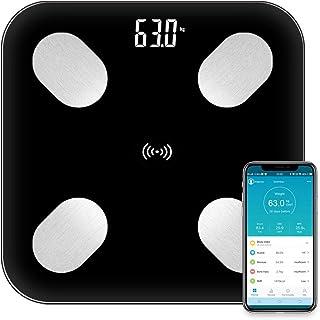 Báscula Grasa Corporal Báscula de Baño-Báscula Inteligente Bluetooth, Medición de Alta Precisión el Peso Corporal, Porcentaje de Grasa Crporal, Masa Muscular, IMC, Grasa Visceral, iOS y Android