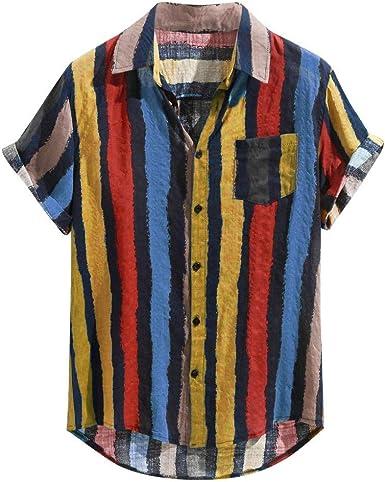 FossenHom Camisas de Hombre de Moda 2020 con Bolsillo de Pecho a Rayas Multicolores Sueltas Camisas Hombre Baratas Fiesta Manga Corta de Dobladillo ...