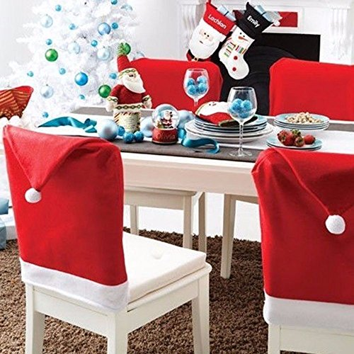 SUNTRADE Stuhlhussen mit Weihnachtsmannmütze, für Weihnachten, Esstisch, Stühle, Dekoration, 4 Stück