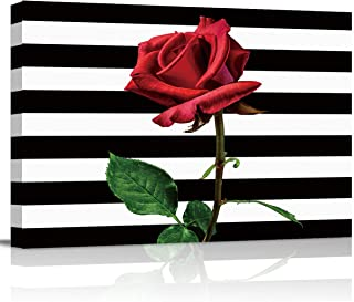 T&H XHome Bathroom Wall Art Decor Canvas Oil Painting,Red Roses Flowers on Black and White Stripes Modern Artwork Picture ...