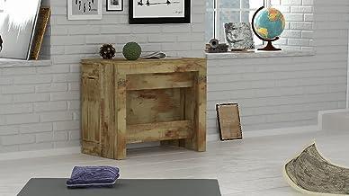 طاولة ديكور براتيكا تُسند الى حائط من هوم مانيا، موفرة للمساحة، متعددة الاغراض، قابلة للتمديد، مناسبة لغرفة المعيشة وغرفة ...