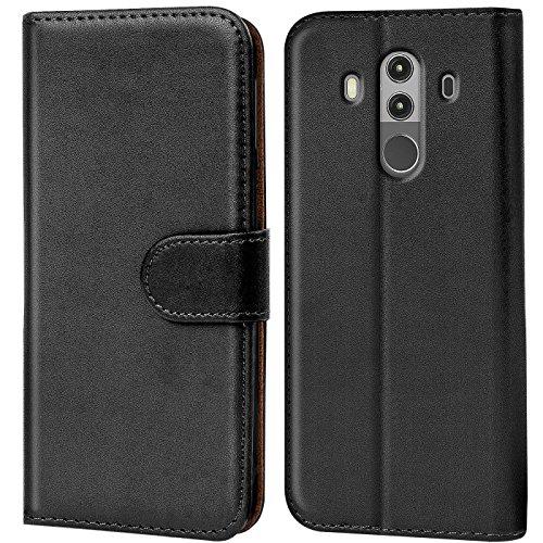 Verco Mate 10 Pro Hülle, Handyhülle für Huawei Mate 10 Pro Tasche PU Leder Flip Case Brieftasche - Schwarz