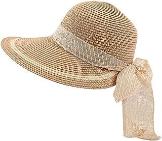 Womens Classic Wide Brim Foldable Sun Hat with Bow Tie Light Weight Floppy UPF 50+ Beach Cap Fedora Straw Hat