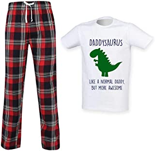 Mens Daddysaurus Daddy Dinosaur Tartan Trouser Pyjama Set Family Matching Twinning Family