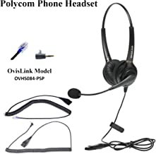 OvisLink Noise Canceling Headset Compatible with Polycom Allworx IP Phones | Dual Ear Call Center Headset with 2 Quick Disconnect Cord | Flexible Microphone Boom | HD Voice Quality | Comfortable