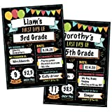 12 Beautiful First and Last Day of School Board Signs - Reversible 12' x 9' Back to School Cards for Kindergarten and School Graduation - The Perfect Photo Prop Chalkboard Prints for Lasting Memories