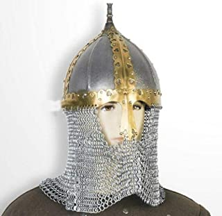 D3 MART New Functional Medieval Russian Helmet 18 Gauge Steel with Chainmail SCA for Father's