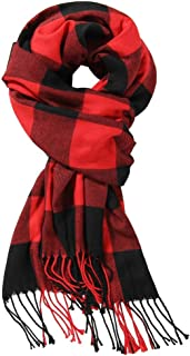 Red Black Christmas Buffalo Checkers Plaids Scarf,Unisex Classic Luxurious Soft Cashmere Feel Winter Scar