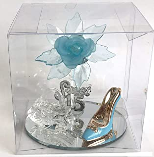 Sweet 15, Quinceanera Turquoise Aqua Blue Acrylic Flower, Purse and Enamel High Shoe Favor on Mirror Base