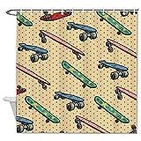 Free Brand Duschvorhang mit verschiedenen Skateboards, geruchloses Dekor, Badezimmereinlage, Stoff, für Badezimmer, Duschkabine, Badewannen, wasserdicht, 183 x 183 cm