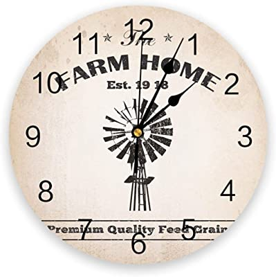 Farm Charcoal Windmill Rustic Wall Clocks Non Ticking for Girl Boy Bedroom Bathroom Kitchen Living Room Office Round Clock Dia 30cm Children's Day Gift Friends Gifts Arts Watches