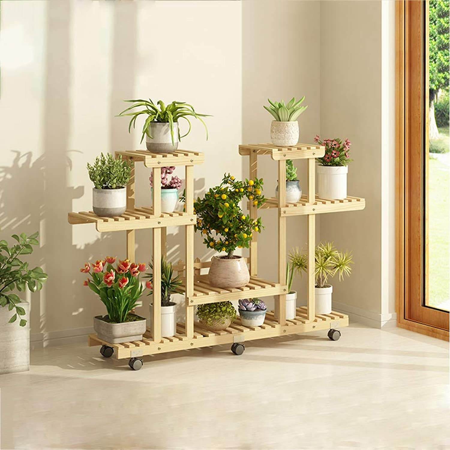 SLH Wheeled Floor-Standing Flower Stand Multi-Story Indoor Balcony Living Room Natural color Plant Shelf