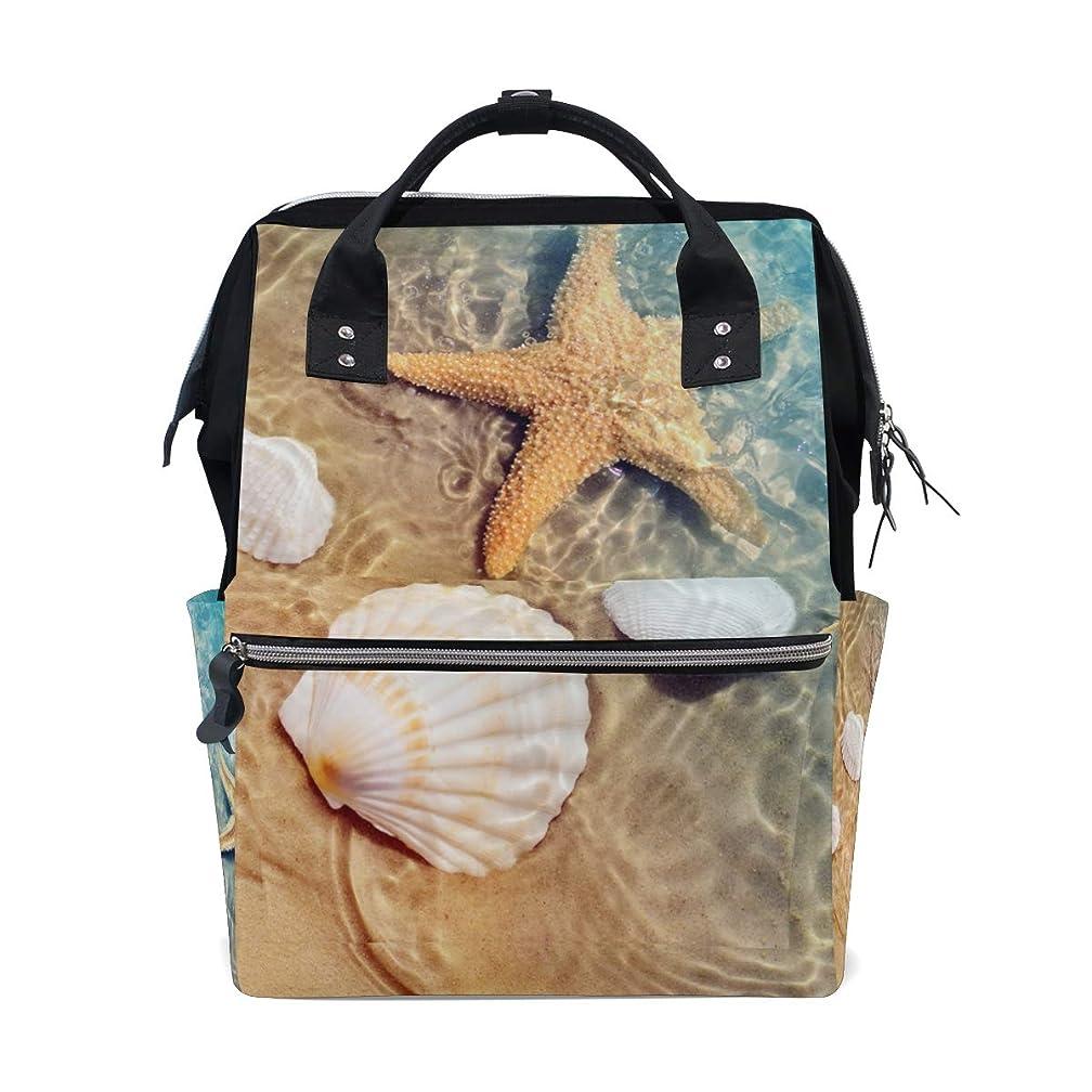 Beach Sand Water Shells Starfishes School Backpack Large Capacity Mummy Bags Laptop Handbag Casual Travel Rucksack Satchel For Women Men Adult Teen Children