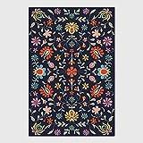 HJFGIRL Designerteppich Moderner Kurzfloriger Abstrakter Anstrich Blaue Blumen Musterteppiche - Innen- Oder Außenteppich Patio/Wohnzimmer/Esszimmergebrauch (160 * 230 cm),40 * 60cm