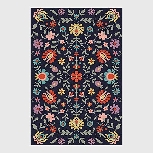 HJFGIRL Designerteppich Moderner Kurzfloriger Abstrakter Anstrich Blaue Blumen Musterteppiche - Innen- Oder Außenteppich Patio/Wohnzimmer/Esszimmergebrauch (160 * 230 cm),120 * 160cm