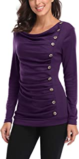 MISS MOLY Women's Sleeveless Cowl Neck Sweatershirt Tunic Button Decor Ruched Front Long Sleeves Work Tops T-Shirt