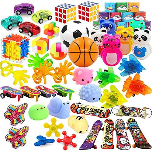 Paquete de 52 paquetes de regalos de fiesta para niños, bolsas de cumpleaños para calcetines, premios de carnaval escolar, premios de clase, caja de tesoros, juguetes de piñata, bolsas de golosinas, juguetes a granel