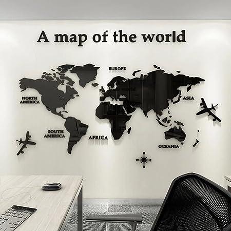 3D Acrílico DIY Mapa del Mundo Mundi De la Pared Murales Etiquetas Etiqueta Sala Salón Oficina Fondo Pegatinas Creativa Decoración Decor De la Pared Murales Mapa del Mundo Mundi 120*60cm
