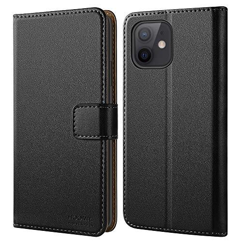HOOMIL iPhone 12 Mini Hülle [Premium PU Leder] [Kartenfach und Standfunktion und Magnetverschluss] Lederhülle Klapphülle Etui Handyhülle für iPhone 12 Mini Hülle Schwarz