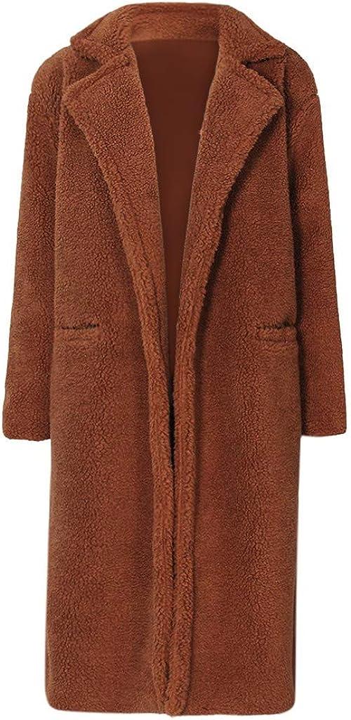 Brown Teddy Bear Jacket Women, NRUTUP Faux Lamb Wool Long Fur Jacket Winter Pea Coat Full Length Warm Outwear